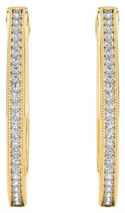 Elizabeth Jewelry 10Kt Yellow Gold 0.15 Ct Diamond Hoop Earrings