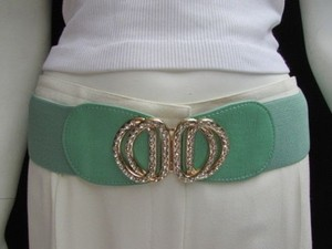Other Women Waist Hip Green Elastic Fashion Belt Silver Rhinestones Buckle 27-36