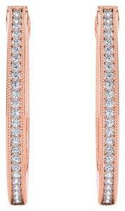 Elizabeth Jewelry 10Kt Rose Gold 0.15 Ct Diamond Hoop Earrings