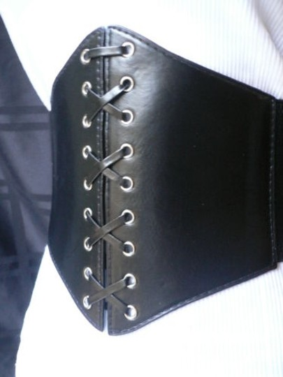 Other Women Black Wide Corset Chic Knot Tie Belt Faux Leather Fits