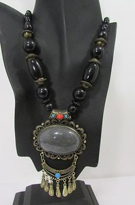 Fashion Necklace Moroccan Bead Antique Gold Metal Chains Blue Red Brown Gray