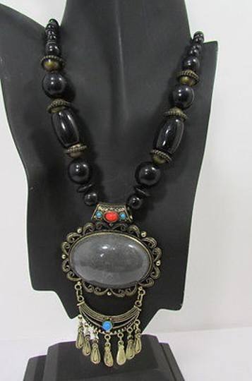 Other Necklace Moroccan Bead Antique Gold Metal Chains Blue Red Brown Gray