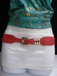 Other Women Hip High Waist Stretch Red Thin Fashion Belt Big Buckle 26-38 Xs-l