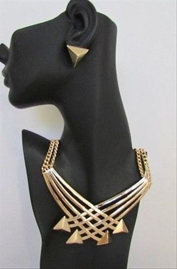 Other Women Necklace Earring Set Strands Metal Chains Gold Silver Arrows