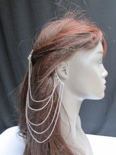 Other Women Silver Chains Cuff Earring Connected Headband Claw