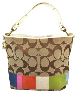 Coach Gold Hardware Stripe Legacy Hobo Bag