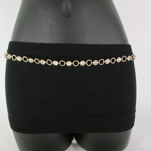 Women Metal Chain Rhinestones Fashion Belt Hip Waist Silver Gold 30-40