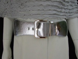 Other Women Waist Hip Metallic Silver Wide Elastic Classic Fashion Belt 26-35