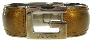 4981aeb29 Gucci Authentic GUCCI Logos Bracelet Bangle Brown Silver Plated Italy