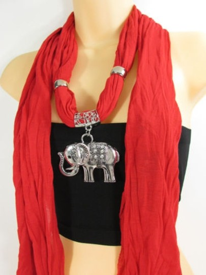 Other Women Fashion Necklace Fabric Scarf Big Elephant Pendant Red Black Blue White