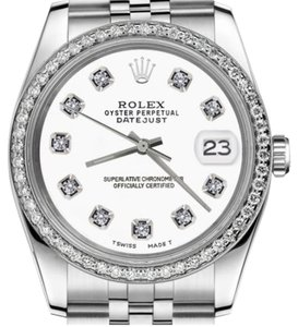 Rolex Women`s 26mm Datejust Stainless Steel White Color Dial Diamonds Watch