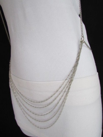 Other Women Silver Body Chain Necklace Double Belt Holiday Vest