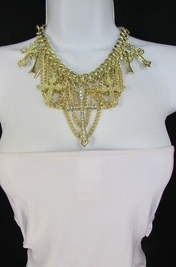 Other Women Earring Gold Multi Strands Chains Crosses Fashion Rhinestones