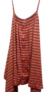 Ella Moss Stripes. High Low Orange and Gray Halter Top