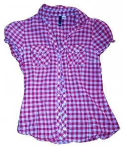 Divided by H&M Cute Summer Button Down Shirt red and white checker