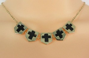 Other Women Gold Metal Chain Fashion Necklace Five Mini Black Crosses Long Pendant