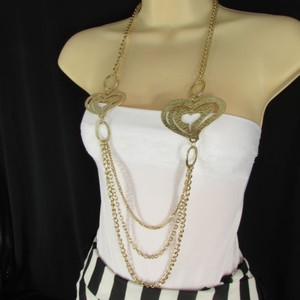 Women Silver Gold Gold Fashion Long Necklace Thin Hearts Strands Chains