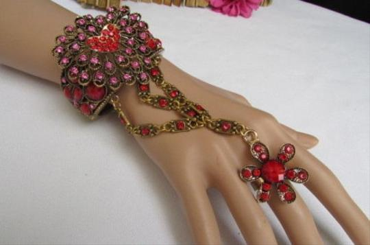 Other Women Gold Bracelet Fashion Hand Jewelry Big Heart Beads Red Blue Gray Multi