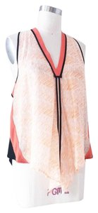 Line & Dot Modern Colorblock Racerback Wear To Work Day To Night Top Black and Orange