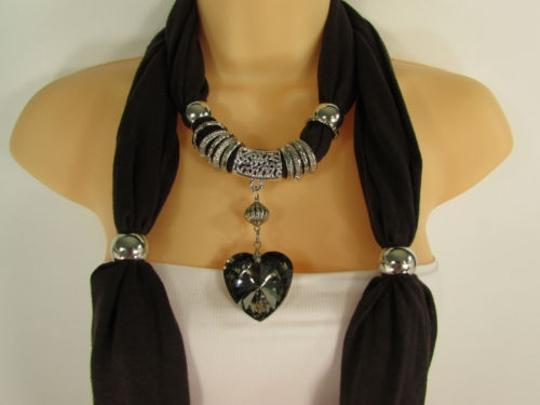 Other Women Dark Brown Scarf Fabric Fashion Long Necklace Silver Heart Pendant Charm