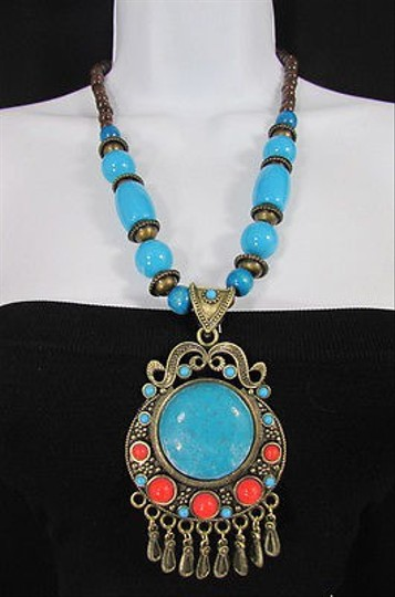 Other Necklace Big Round Bead Antique Gold Metal Chain Blue Red Brown Gray