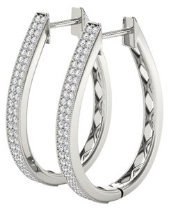 Elizabeth Jewelry 10Kt White Gold 0.33 Ct Diamond Hoop Earrings