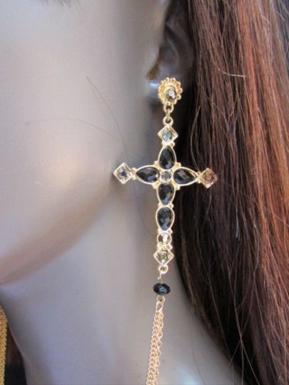 Other Women Gold Chains Black Rhinestones Cross Hook Fashion Earring Necklace