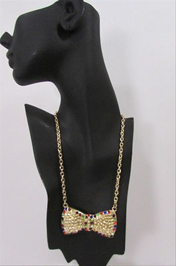 Other Women Fashion Necklace Gold Metal Chains Blue Multicolor Rhinestones