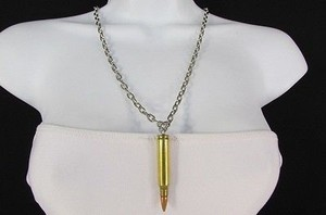 Women Western Metal Chains Rifle Real Bullet Pendant Fashion Necklace Gold