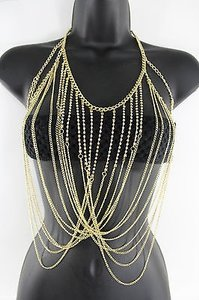 Other Women Bikini Body Chains Gold Necklace Fashion Jewelry Rhinestones Strands