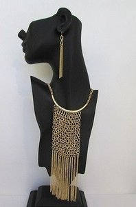Women Long Fashion Necklace Earring Set Fringes Metal Chains Gold Silver