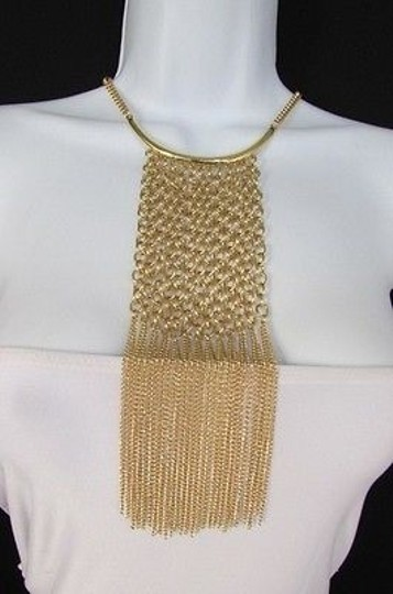 Other Women Long Necklace Earring Set Fringes Metal Chains Gold Silver
