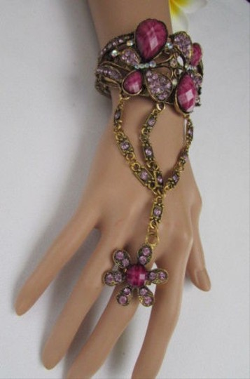 Other Women Gold Bracelet Fashion Hand Chain Butterfly Beads Red Blue Gray Purple