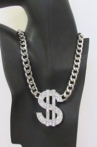 Other Women Fashion Necklace Big Metal Dollar Sign Pendant Gold Silver 18long