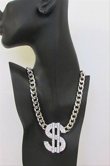 Other Women Fashion Necklace Big Metal Dollar Sign Pendant Silver