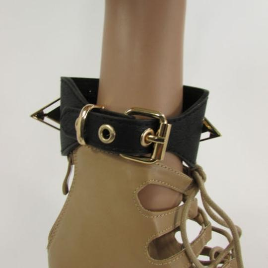 Other Women Bracelet Faux Leather Straps Gold Metal Spikes One Strap Black Boots