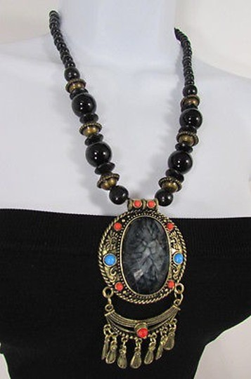 Other Necklace Big Oval Bead Antique Gold Metal Chains Blue Red Brown Gray