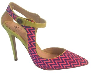 ShoeDazzle Bright pink, royal blue, and yellow Pumps