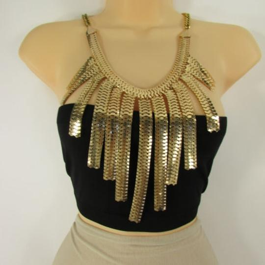 Other Women Necklace Gold Silver Metal Chain Link Statement Fashion Wide Long Pendant