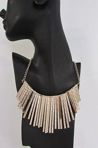 Women Wide Necklace Mesh Metal Sticks Fringes Chains Fashion Gold Silver