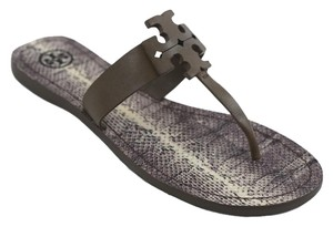 Tory Burch Black Slip On Leather Rubber Sole Fango (Gray) Sandals
