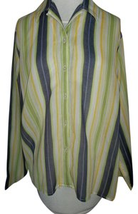 Liz Claiborne Longsleeve Light Weight Button Down Casual Striped Top Blue/Yellow/Green/White Striped