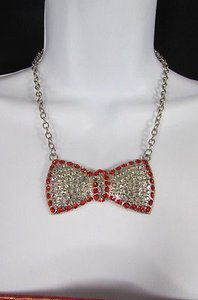 Fashion Women Bib Necklace Silver Metal Chain Blue Red Multicolor Bow Rhinestone