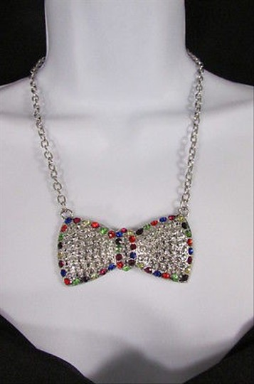 Other Women Necklace Silver Metal Chain Blue Red Multicolor Bow Rhinestone