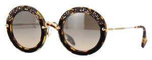 Miu Miu MU 08RS 7S04P0 MIU MIU Round Sunglasses - Light Havana with Beautiful Hand Set Crystals - FREE 2 DAY SHIPPING -
