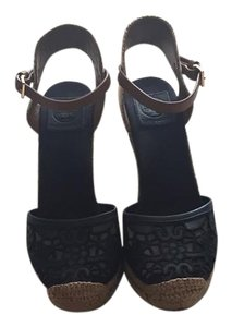 Tory Burch Lace Navy Blue, Tan, Espadrille Wedges