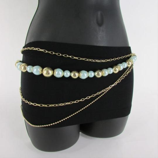 Other Women Gold Metal Multi Strands Fashion Belt Blue Ball Hip Waist