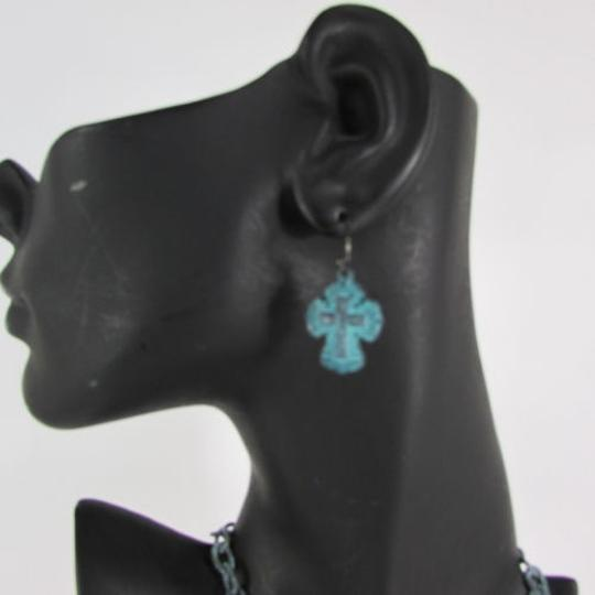 Other Women Rusty Antique Turquoise Metal Chain Cross Fashion Necklace Earring Set