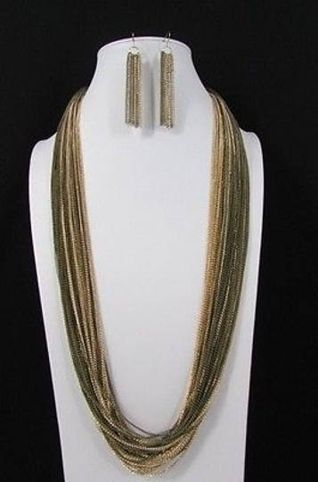 Other Women Long Fashion Black Necklace Earring Set Chains Gold Silver