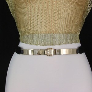 Other Women Thin Gold Metal Plate Narrow Fashion Belt Hip High Waist - 27-37